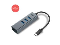 i-Tec USB-C Metal 3-Port - Hub - 3 x SuperSpeed USB 3.0 + 1 x 10/100/1000 - Desktop