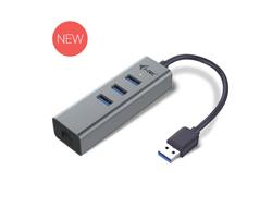 i-Tec USB 3.0 Metal 3-Port - Hub - 3 x SuperSpeed USB 3.0 + 1 x 10/100/1000 - Desktop