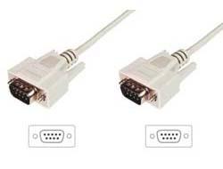 ASSMANN - Kabel seriell - DB-9 (M) bis DB-9 (M) - 3 m - geformt, Daumenschrauben - beige