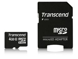 Transcend Premium - Flash-Speicherkarte (microSDHC/SD-Adapter inbegriffen) - 4 GB - Class 10 - 133x - microSDHC