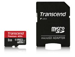 Transcend Premium - Flash-Speicherkarte (microSDHC/SD-Adapter inbegriffen) - 8 GB - UHS Class 1 / Class10 - 300x - microSDHC UHS-I