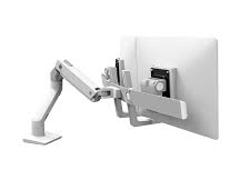 Ergotron HX Desk Monitor Arm - Befestigungskit (Gelenkarm, Spannbefestigung für Tisch, Tischplattenbohrung, Pivot, Befestigungselemente, Verlängerungsteil) für Monitor - weiß - Bildschirmgröße