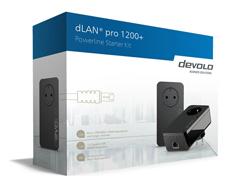 devolo dLAN pro 1200+ - Starter Kit - Bridge - GigE, HomePlug AV (HPAV) - an Wandsteckdose anschließbar (Packung mit 2)