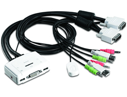 KVM 2-port DVI Switch mit Audio