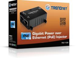 TRENDnet TPE-113GI - Power Injector - Wechselstrom 100-240 V - 15.4 Watt - Ausgangsbuchsen: 1